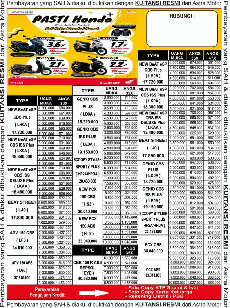 Brosur Kredit Motor Honda 2020, Brosur Daftar Harga Kredit ...